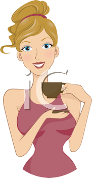 Royalty Free Clipart Image of a Girl With a Teacup
