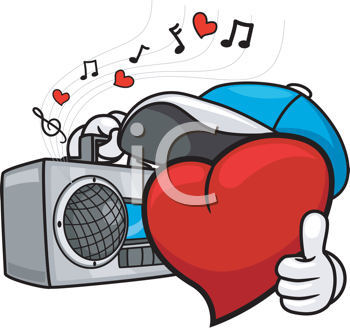 Royalty Free Clipart Image of a Heart Listening to a Radio Giving a Thumbs Up