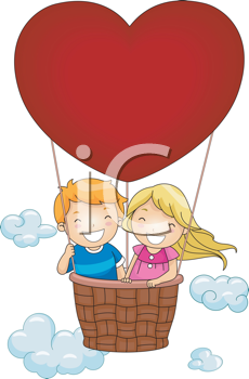 Royalty Free Clipart Image of Two Children in a Heart Shaped Hot Air Balloon