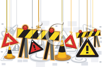 Royalty Free Clipart Image of a Construction Items on Strings