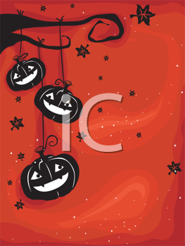 Royalty Free Clipart Image of a Halloween Greeting With Jack-o-Lanterns Hanging From a Tree