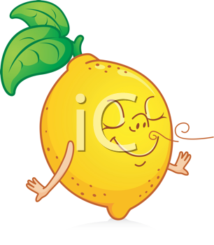 Royalty Free Clipart Image of a Cartoon Lemon
