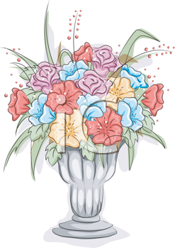 Royalty Free Clipart Image of a Vase of Flowers