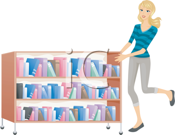 Royalty Free Clipart Image of a Woman Pushing a Library Shelf of Books