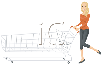 Royalty Free Clipart Image of a Woman Pushing a Long Shopping Cart