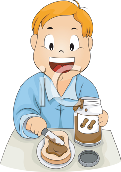 Royalty Free Clipart Image of a Child Making a Peanut Butter Sandwich
