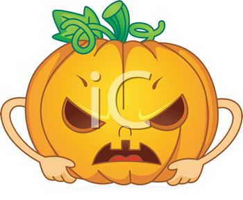 Royalty Free Clipart Image of an Angry Jack-o-Lantern