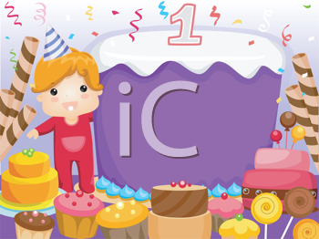 Royalty Free Clipart Image of a Party Invitation With a Baby's First Birthday Cake