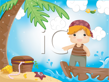 Royalty Free Clipart Image of a Boy Dressed as a Pirate Looking For Treasure