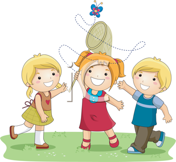 Royalty Free Clipart Image of Three Children Trying to Catch a Butterfly