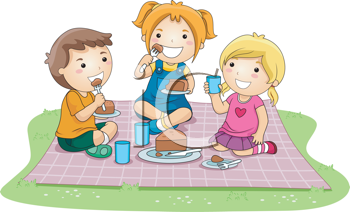 Royalty Free Clipart Image of a Kids Picnic