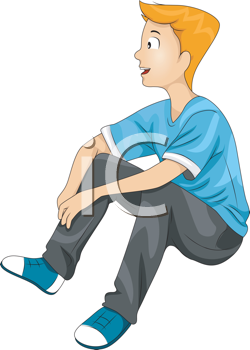 Royalty Free Clipart Image of a Boy Sitting With His Knees Bent