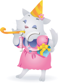 Royalty Free Clipart Image of a Birthday Cat