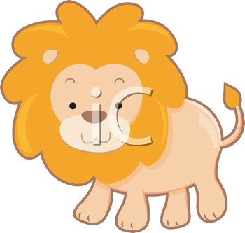 Royalty Free Clipart Image of a Cartoon Lion