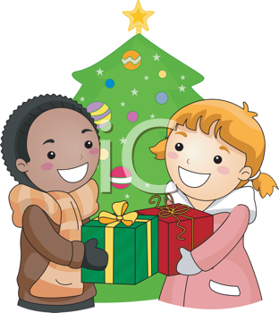 Royalty Free Clipart Image of a Boy and Girl Exchanging Gifts at Christmas