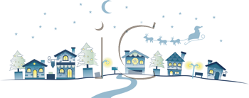 Christmas Urban Scene with Clipping Path