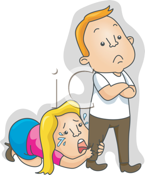 Royalty Free Clipart Image of a Woman Begging