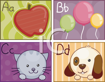 Royalty Free Clipart Image of a Set of Alphabet Cards For A to D