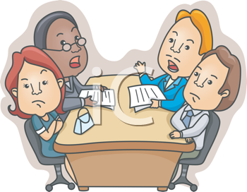 Royalty Free Clipart Image of Two Men and Two Women at a Table