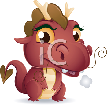 Royalty Free Clipart Image of a Baby Dragon