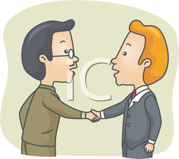 Royalty Free Clipart Image of a Two Men Shaking Hands