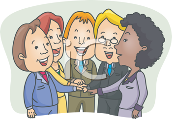 Royalty Free Clipart Image of a Group of People With Their Hands Stacked