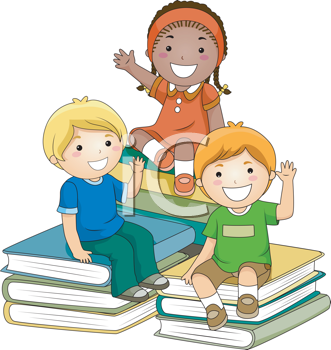 Royalty Free Clipart Image of a Group of Children Sitting on Piles of Books