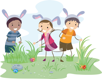 Royalty Free Clipart Image of an Easter Egg Hunt