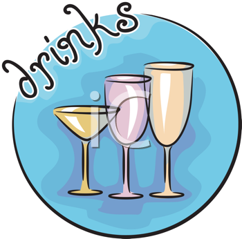 Royalty Free Clipart Image of Different Size Drink Glasses