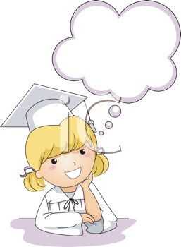 Royalty Free Clipart Image of a Little Girl and a Speech Bubble