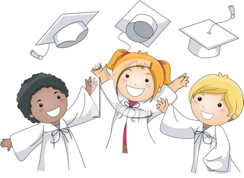 Royalty Free Clipart Image of Graduates Tossing Their Hats in the Air