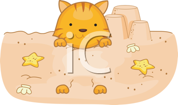 Royalty Free Clipart Image of a Cat in the Sand