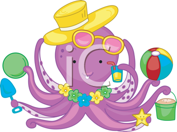 Royalty Free Clipart Image of an Octopus Ready for the Beach
