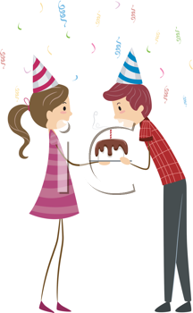 Royalty Free Clipart Image of a Guy Blowing Out the Candles on His Birthday Cake