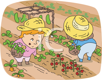Royalty Free Clipart Image of Women in a Garden