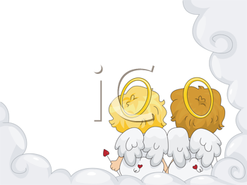 Royalty Free Clipart Image of Two Angels Side by Side in a Cloud Frame