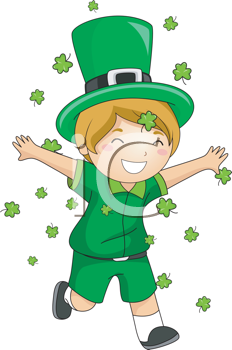 Royalty Free Clipart Image of a Boy Dressed in Green Running Through Falling Shamrocks