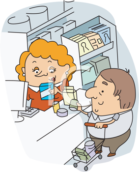 Royalty Free Clipart Image of a Cashier at Work