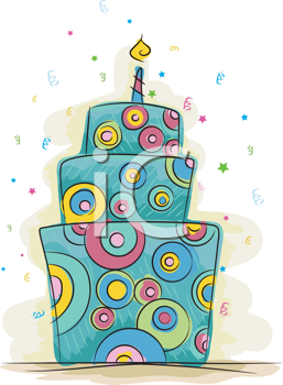 Royalty Free Clipart Image of a Fun Birthday Cake With One Candle