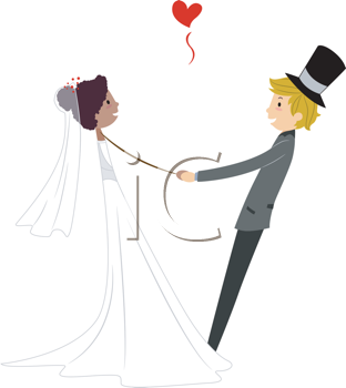 Royalty Free Clipart Image of an Interracial Dancing Couple