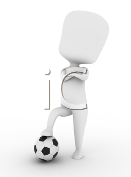 3D Illustration of a Proud Soccer Player Stepping on a Ball