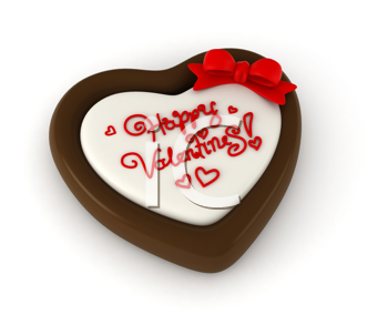 3D Illustration of Chocolate with a Valentine Greeting Carved on the Surface