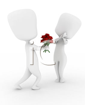 3D Illustration of a Man Giving His Girl a Bouquet of Flowers
