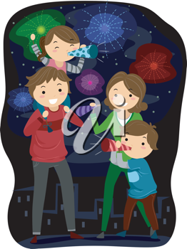 Illustration of a Family Celebrating the Coming of the New Year
