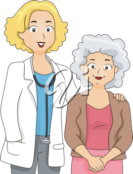 Illustration of a Doctor Standing Beside Her Patient