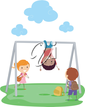 Illustration of Kids Playing with a Monkey Bar