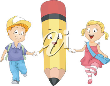 Illustration of Kids Holding Hands with a Pencil
