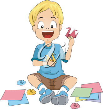 Illustration of a Kid Doing Origami