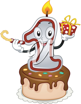 Illustration of a Birthday Candle Mascot