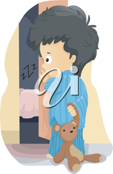 Illustration of a Kid Wanting to Sleep with His Parents
